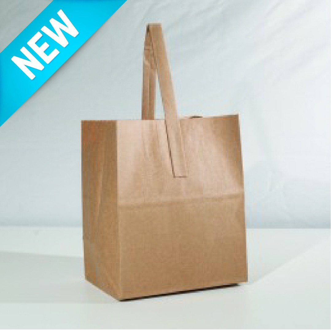 Paper Handle Bag Half Peck - Plain Kraft