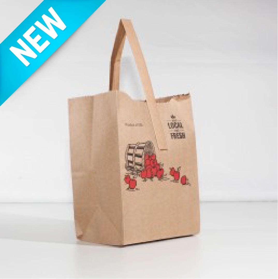 Paper Handle Bag Quarter Peck - Apple - Kraft NEW
