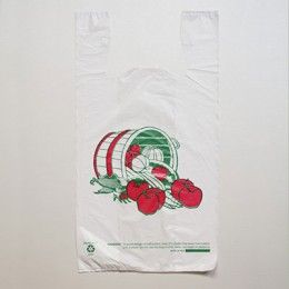 Large Check-Out T-Shirt Bag - Vegetable Print